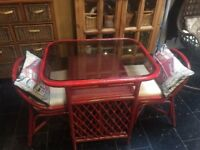 Red Cane Kitchen Table With London Designed Cushions