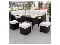 **FREE & FAST UK DELIVERY** Modern 9 Seater Brown Rattan Garden Corner Sofa & Dining Table Set