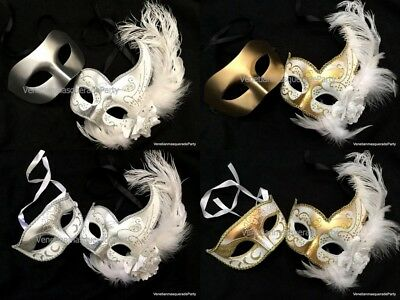 (White Masquerade Wedding Mask Pair Bridal Groom Engagement Party-Wider Mens Mask)