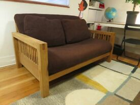 Futon Company 'OKE' Two Seat Solid Oak Mattress, Cushions and Cover Included Excellent Condition!