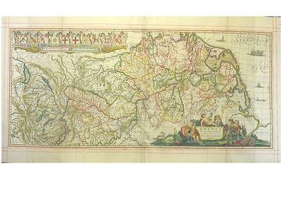 1 Orig.altkolor Kupferstichk v J.Janssonius Pitt&Swart RHEINLAUFKARTE