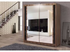BRAND NEW STYLISH BEDROOM 2 DOOR SLIDING CHICAGO WARDROBE IN SIX COLOUR OR CASH ON DELIVERY