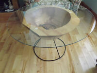 Glass Top Spalted Yellow Birch Coffee Table on Steel Frame