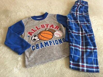PJ & Me Boys Blue Gray Red Plaid Football Baseball Fleece Long Sleeve Pajamas 6 - Pj & Me