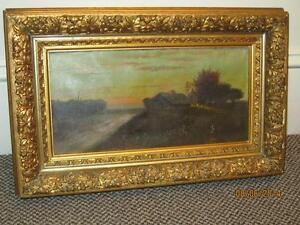 Antique Oil Painting Country Scene