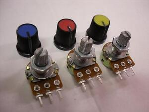3 Pieces 10K Linear Potentiometer Pot B10K + Coloured Knobs