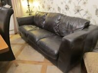 Dark Brown Leather 3 Seater Sofa Settee Northants