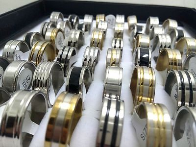 50pc mix lot black sliver gold stainless steel rings men women fashion jewelry