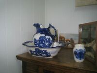 Vintage flo blue bowl & water pitcher Ironstone Staffordshire