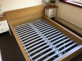 Low Japanese style wooden double bed frame