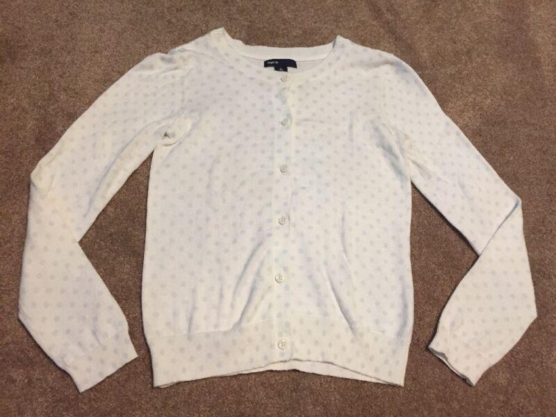 Girls Gap Ivory Cream Blue Polka Dot Cardigan Sweater Size Large 10