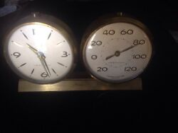 VINTAGE BRASS WESTCLOX ALARM CLOCK/THERMOMETER COMBINATION CLOCK