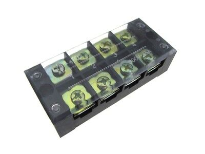 4 Position Screw Barrier Strip Terminal Block W Cover 45a