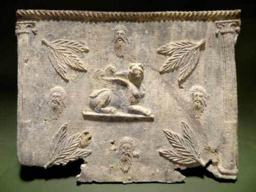 ROMAN LEAD PANEL SPHINX , BEARDED MASK & LEAVES IMAGE 100-300 AD