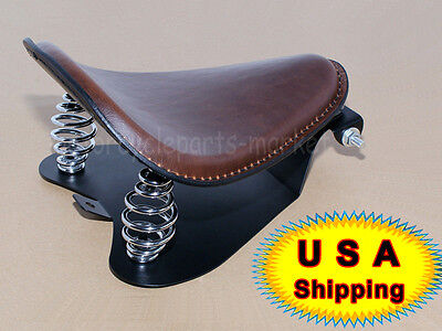 Brown Leather Solo Seat Pan Cover Frame 3  Spring Kits For Harley Bobber Chopper