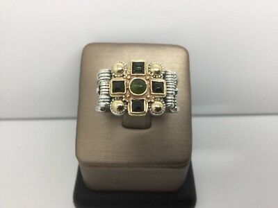 STERLING SILVER AND 18K Y/G RING  WITH GREEN TURMALINES BEZEL SET IN (18k Green Cross)
