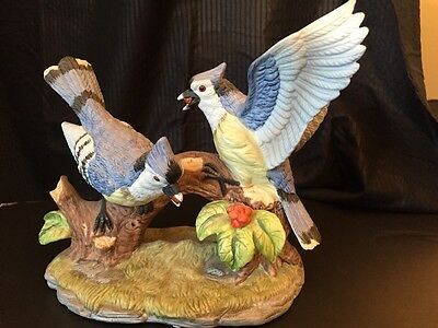 Wellington Collection Porcelain Ceramic Blue Jay Birds Figurine Statue Decor