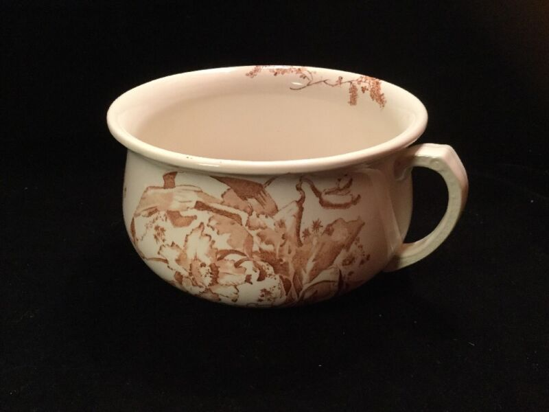 ANTIQUE ENGLISH AESTHETIC BROWN TRANSFER-WARE CHAMBER POT DB & CO. LATE 1800