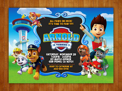 Paw Patrol Party Invites (Custom Paw Patrol Birthday Party Invitations with FREE Thank You)