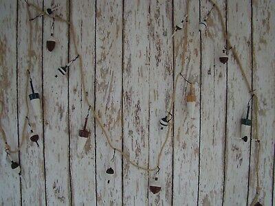 9' Wood Fishing Bobber Garland ~ Fish Net Floats On Jute Rope ~Old Vintage Style