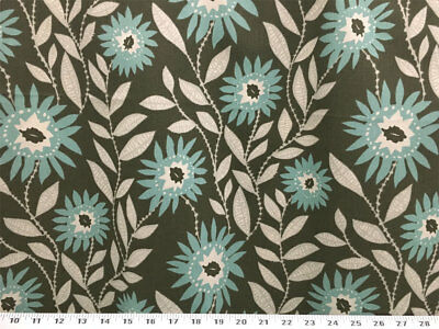 Contemporary Floral Fabric - Drapery Upholstery Fabric 7 oz. Cotton Duck Contemporary Floral Print-Gray Multi