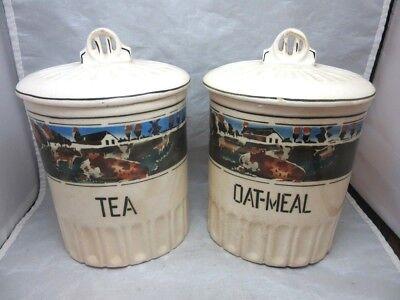 Czechoslovakia pottery kitchen canisters. TEA. OATMEAL. Dairy Farm, cows