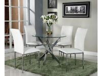 *FAST & FREE UK DELIVERY* Designer Round Glass Dining Table & 4 White Faux Leather Chairs
