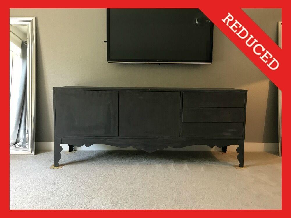 Credenza Trollsta Ikea : Ikea sideboard cupboard unit dark grey charcoal metal legs huge