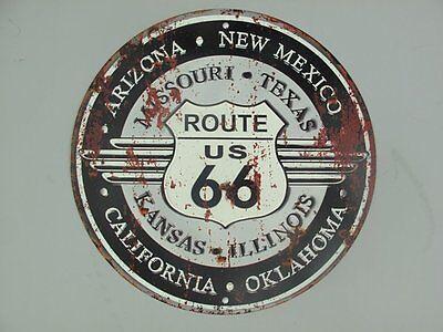 G3760: Blechschild, Route US 66 und Bundesstaaten, Motorsport Wandschild 30 cm.