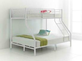 Furniture Sale-Kids Bed Trio Metal Bunk Bed Frame W Opt Mattress-kids bunk bed