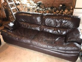 Brown Leather sofa-3 piece suite