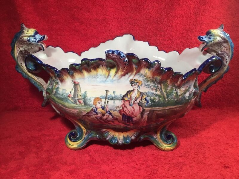 Antique Hand Painted French Faience Jardiniere Planter Dragon Handles c.1800