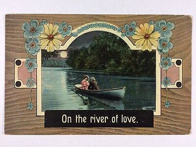 """On The River Of Love"" Couple in Row Boat Romance Love Divided Back Postcard"