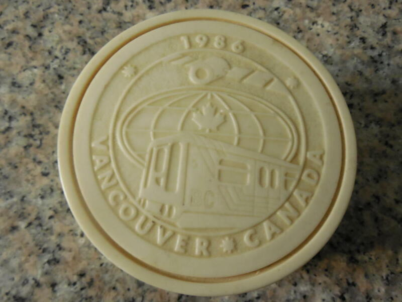 1986 Vancouver Expo-Handcrafted  Pearlite Embossed  Trinket Box          ID:9725