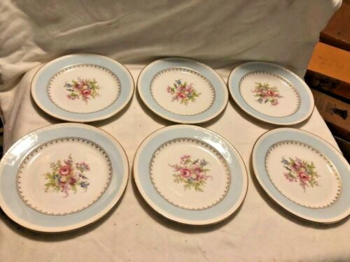 "Set of 6 Homer Laughlin ""Chateau"" 7"" Dessert Plates in Blue Eggshell"