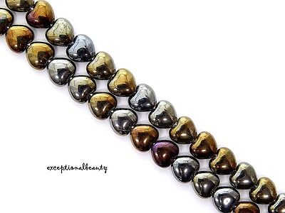 - 56 Iris Brown Preciosa Czech Pressed Bohemian Glass 8mm Puffed Heart Beads