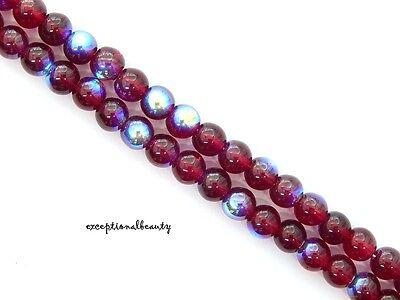 100 Garnet Red AB Preciosa Czech Druk Bohemian Glass Round 6mm Long Strand Beads ()