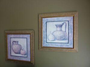 2 cadres carrés avec images de fruits