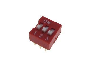 3 Position Dip Switch 2.54mm 0.1 Pitch - Pack Of 10