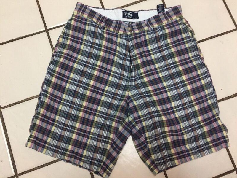 POLO Ralph Lauren Shorts Pastel blue multi Madras Cotton Plaid Mens 32 W 9 L