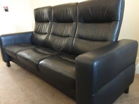 3 Seater Black Leather Sofa Stressless Recliner Seats Immaculate Condition Can Arrange Delivery