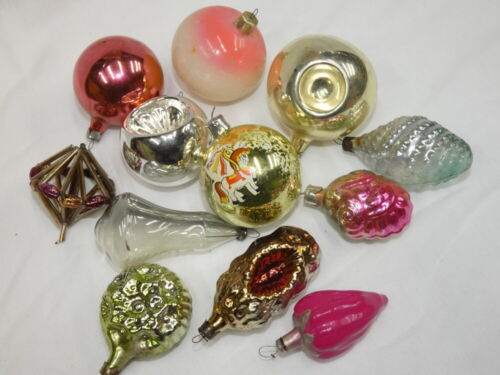 """Vintage 1940s-50s Christmas Mercury Glass Ornaments Lot Russia 2"""" to 4-1/8"""""""
