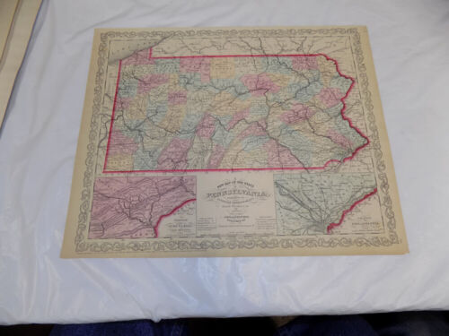 1856 Antique COLOR Map///PENNSYLVANIA, Published by Desilver