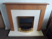 Robinson Willey Eco II Electric Fire & Oak Effect Surround Natural Flame Effect - Works Perfectly