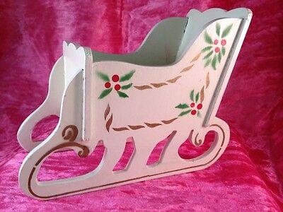 Vintage Wood Sleigh Christmas Holiday for Serving, Decoration, or Letter Holder