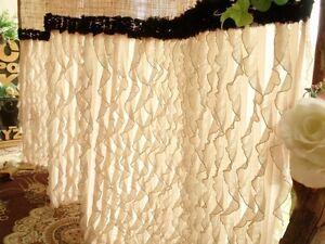 Ruffled shabby rustic chic burlap shower curtain country black trim