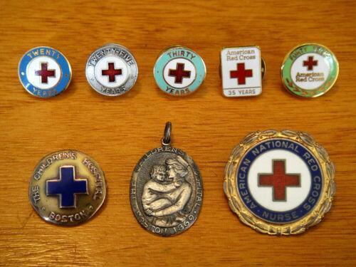 Antique 1935 14K Gold Boston Children's Hospital Pin, Pendant & 6 Red Cross Pins