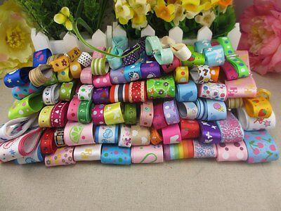 24y//lot random mixed colors assortment 6-25mm Grosgrain and Satin Ribbon Random