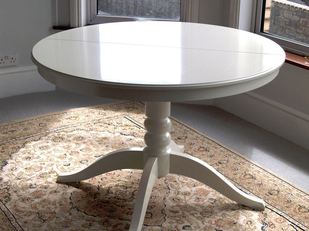 White round oval extendable table seats 4 6 ikea for White round dining table