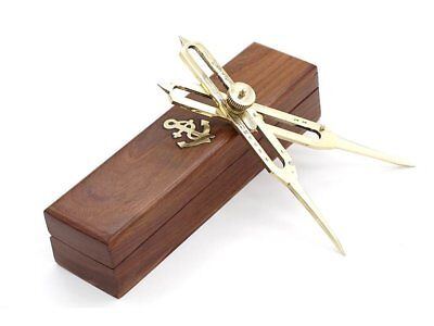 Solid Brass Proportional 6'' Divider Marine Navigation With Wooden Box